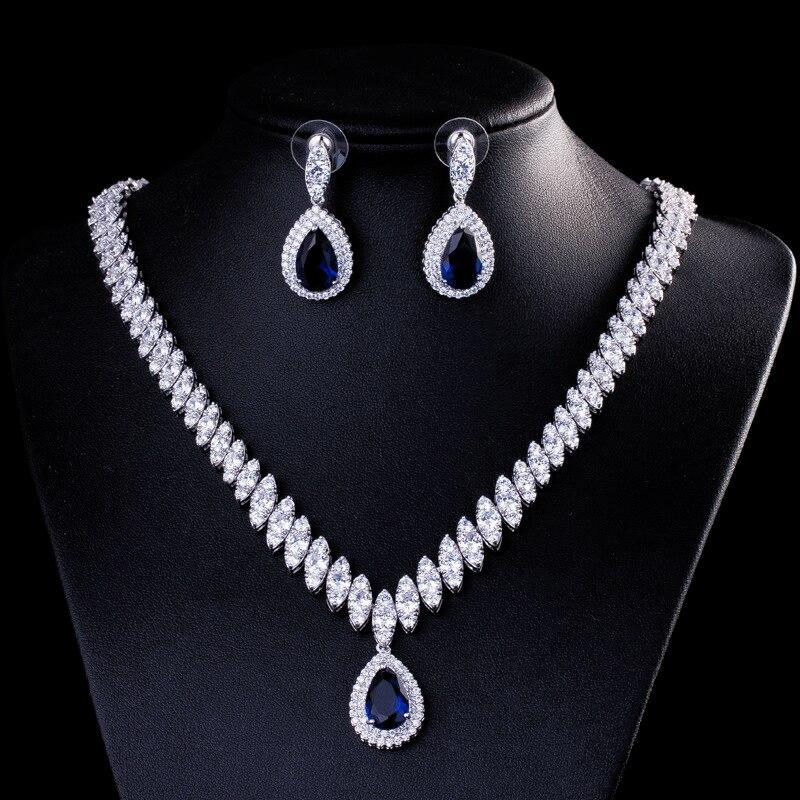 DOKOL Gorgeous Water Drop CZ Necklace and Earrings Sets Sparkling Zircon  Jewelry Set Silver Color Bride bijoux DKS0006 - Camellia Vines